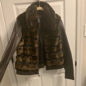 INC Faux Fur Leather Jacket Brown Medium